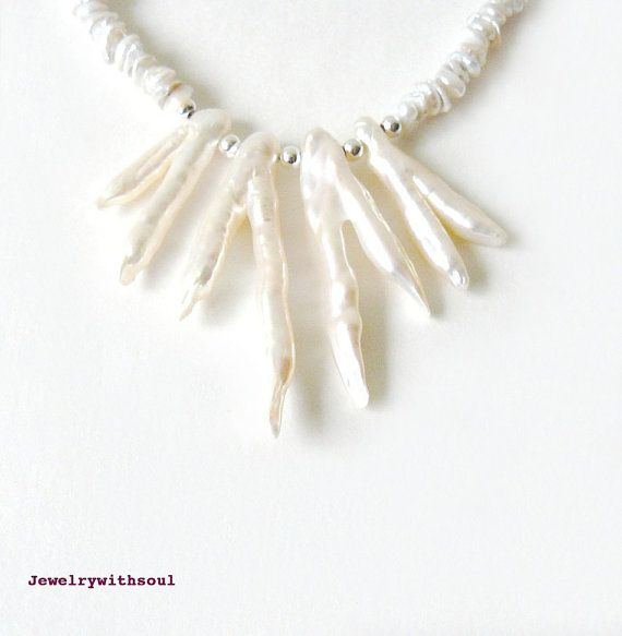 Freshwater pearl and biwa stick double branch and sterling silver choker necklace in grey white, cream white and silver - Spiky icicles