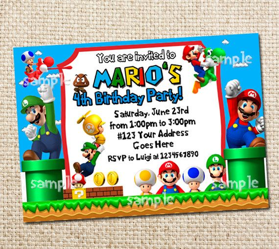 Super Mario Brothers Party Invitation Printable By Wittyparties