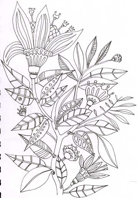 Tropical Flower Doodle | Diseños Jacobean | Pinterest | Bordado y ...