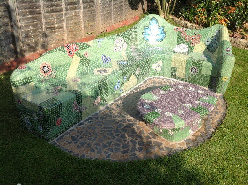 Strawberry Anarchy Mosaic Garden Garden Bench Diy Concrete Diy