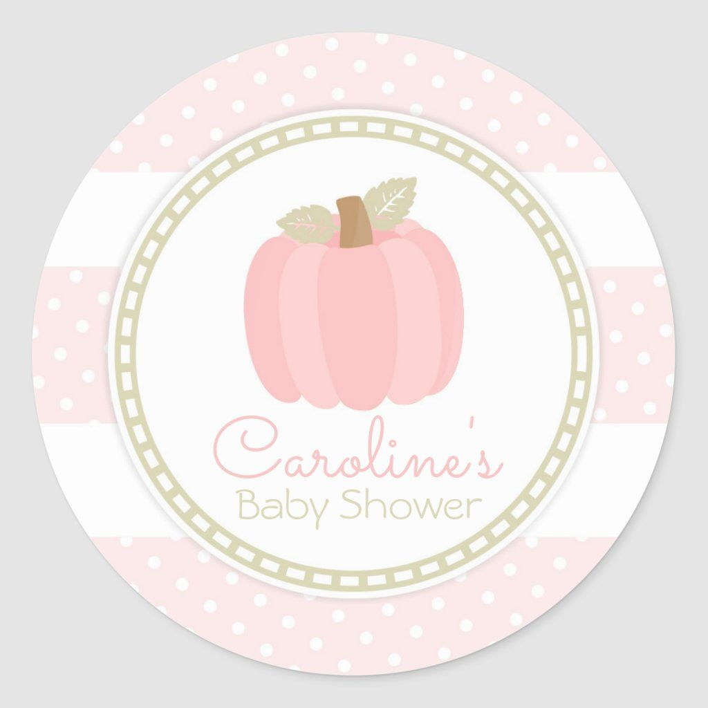 Pink Pumpkin Fall Baby Girl Shower Round Sticker