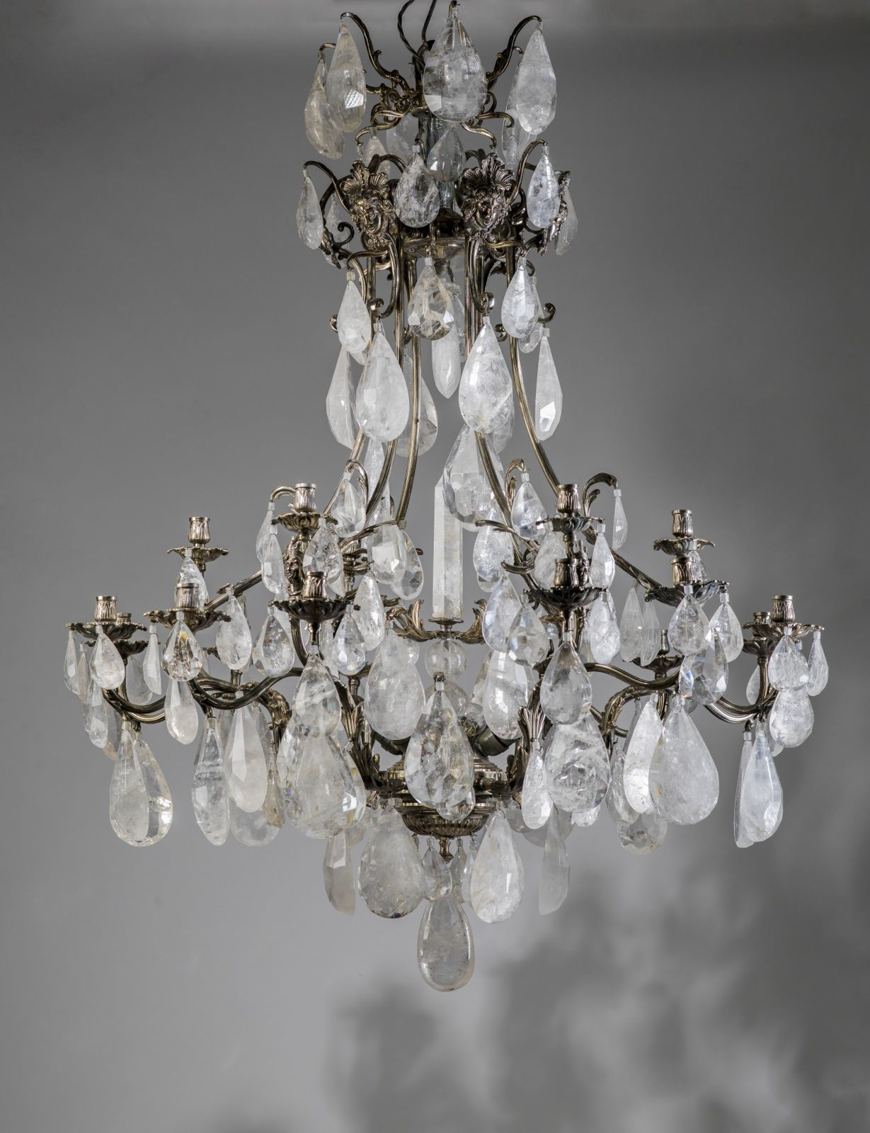 Massive Silvered Bronze And Rock Crystal Chandelier Crystal