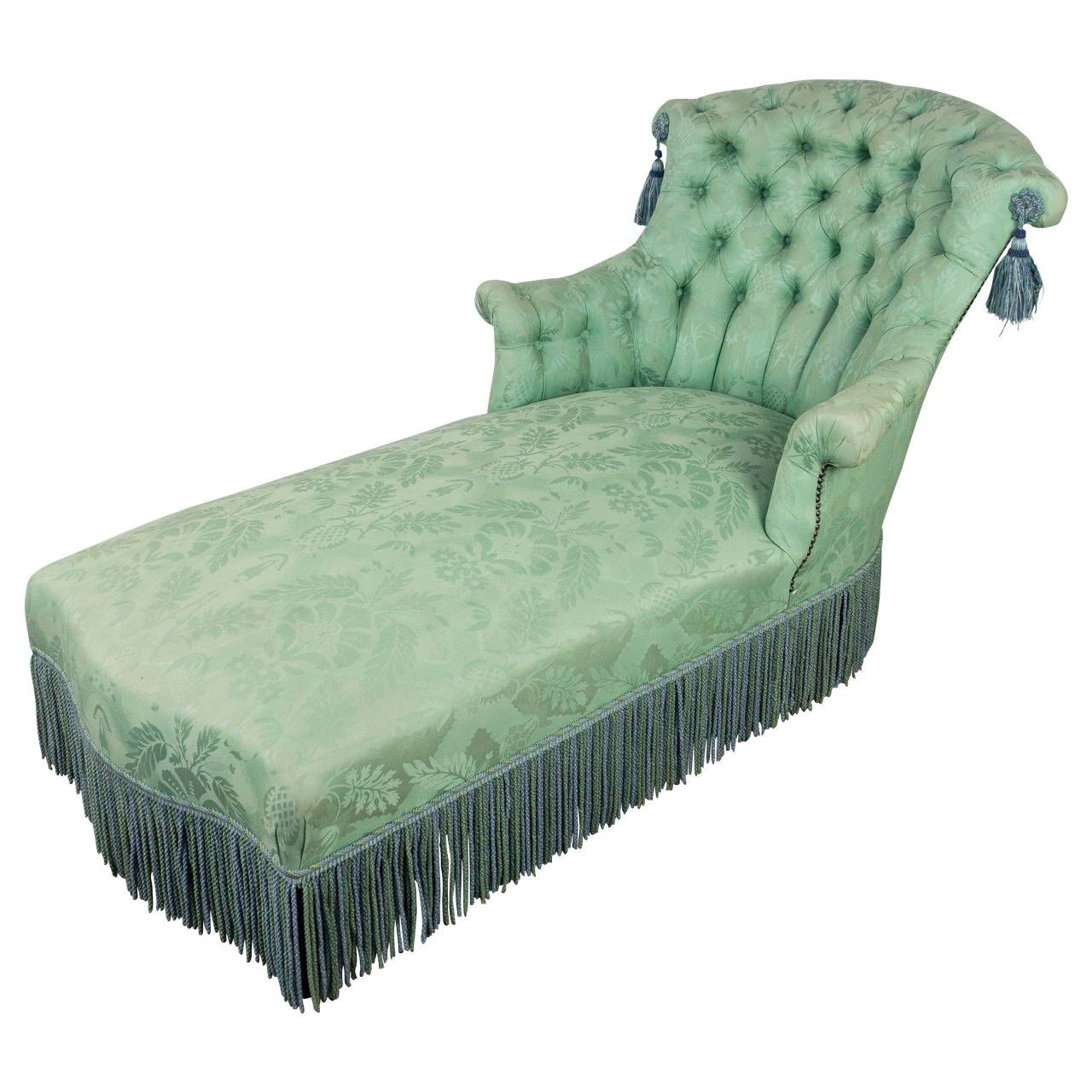 Photo of Chaise Longue in Pale Green Damask