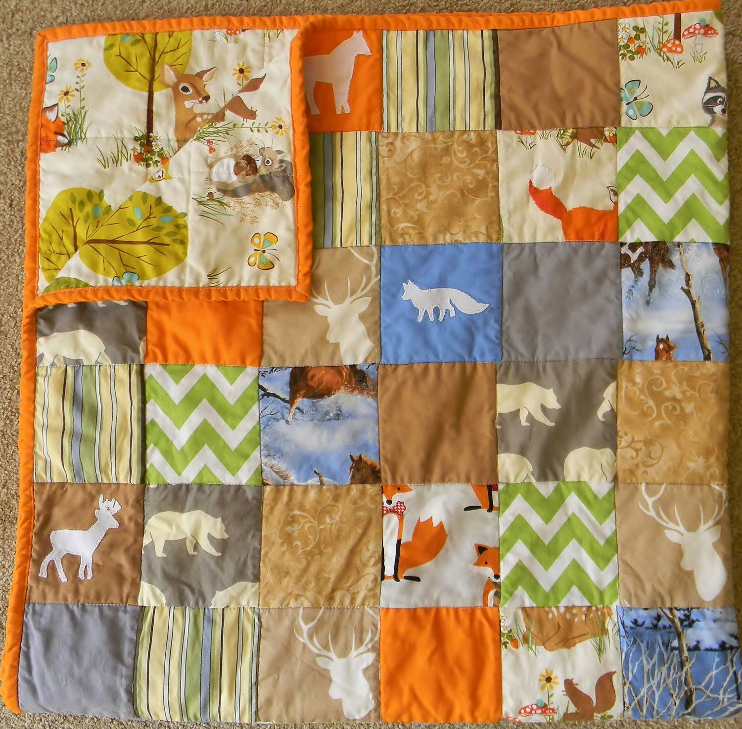 Baby crib quilts - Patchwork Forest Animal Quilt Patchwork Animal Blanket Personalized Baby Crib Quilt Homemade Baby
