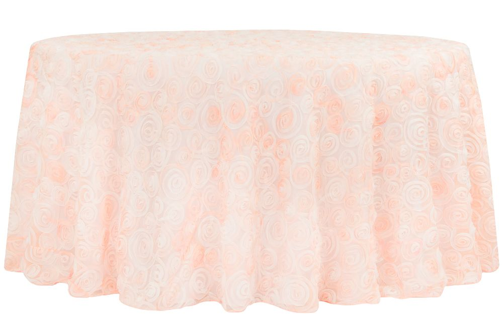 Ombre Chiffon Rosette Tablecloth 120 Round Blush Rose Gold