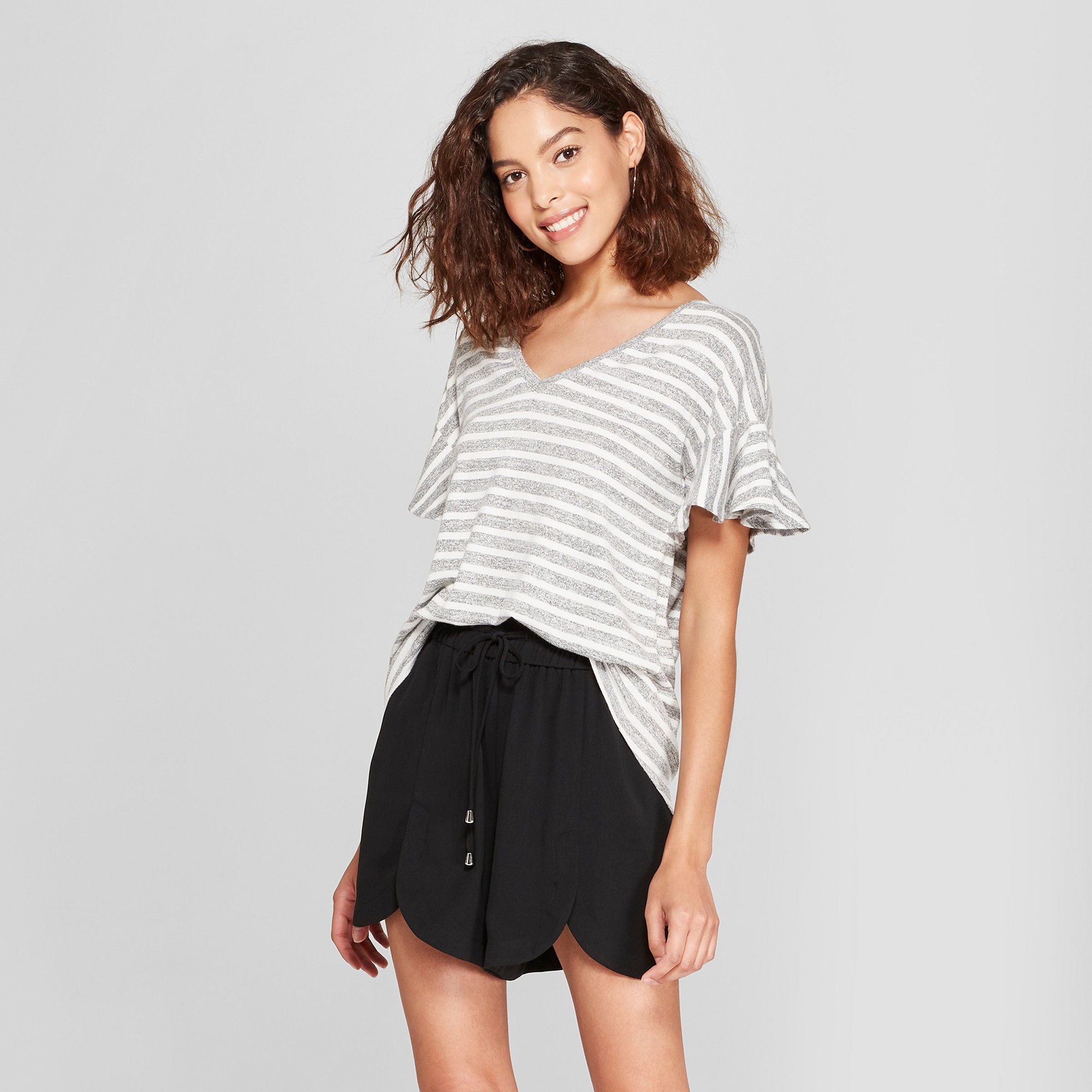 ee0a35dc7aa8c3 Women s Striped Ruffle Sleeve T-Shirt - A New Day Gray White Xxl ...