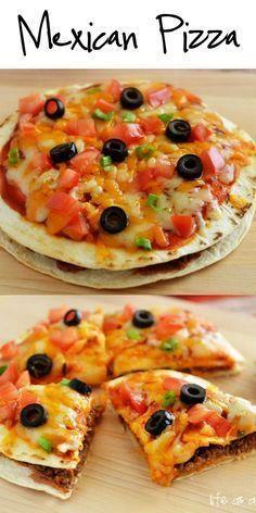 Photo of Mexikanische Pizza #mexicanfoodrecipes Mexican Pizzen beginnen gewürzt mit Hackfleisch, Bohnen,