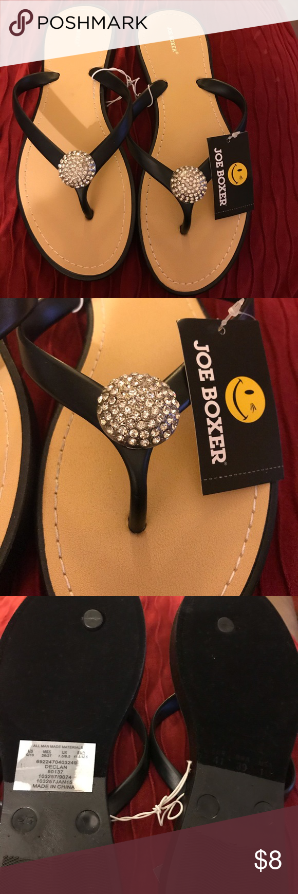 Joe Boxer Flip Flops 9/10 Brand New with rhinestone Joe Boxer Shoes Sandals