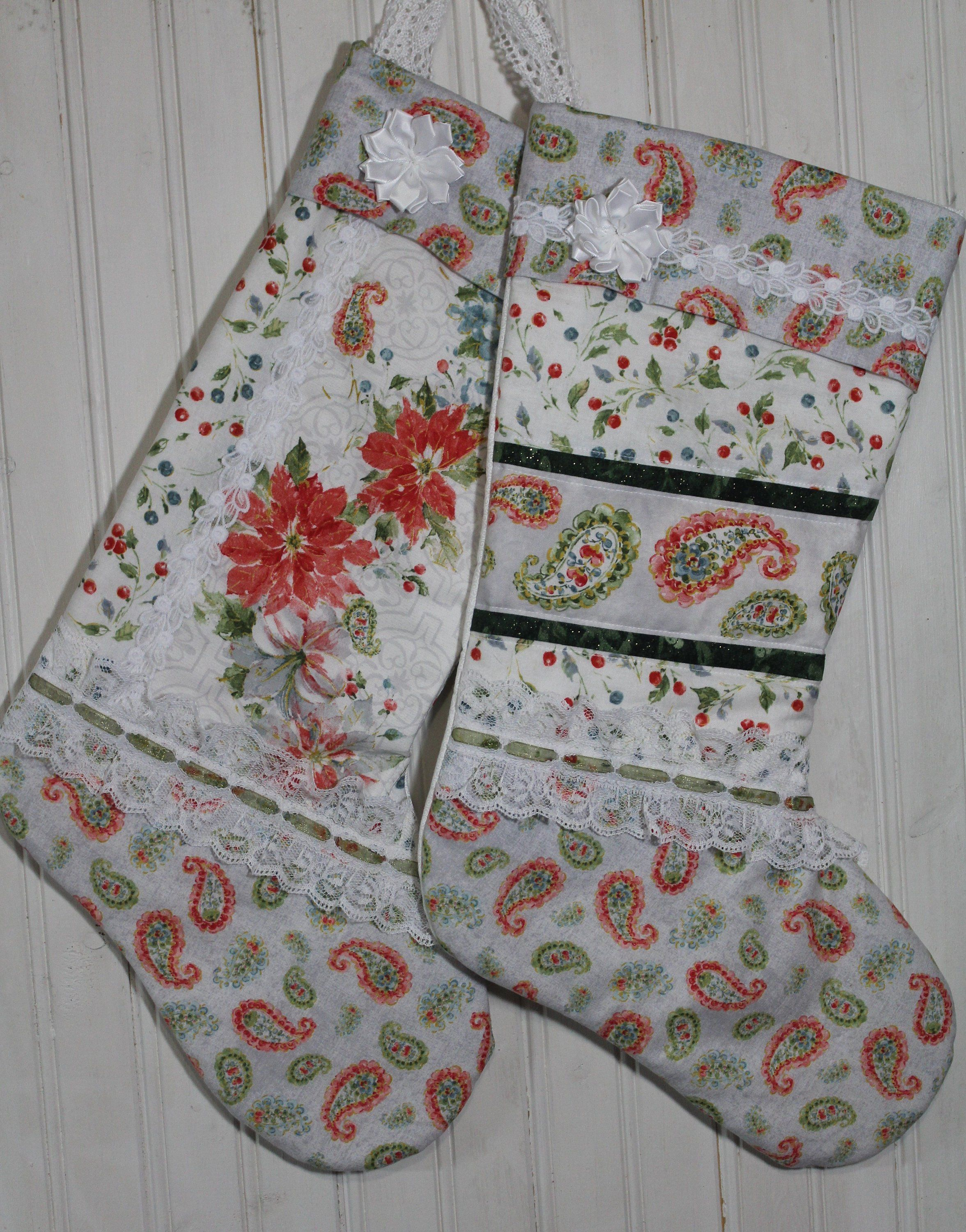 Ivory Dove Christmas Stocking  Quilted Christmas Stocking  Victorian