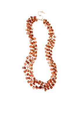 Kenneth Cole  Shell Chip Bead Multi Row Long Necklace