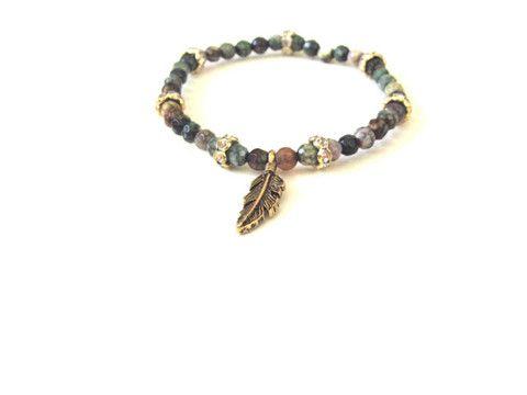 Mini Jasper Feather Charm Bracelet