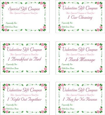 Love Coupons  Valentines    Free Printable Valentines