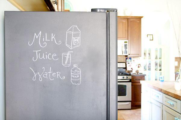 chalkboard paint fridge