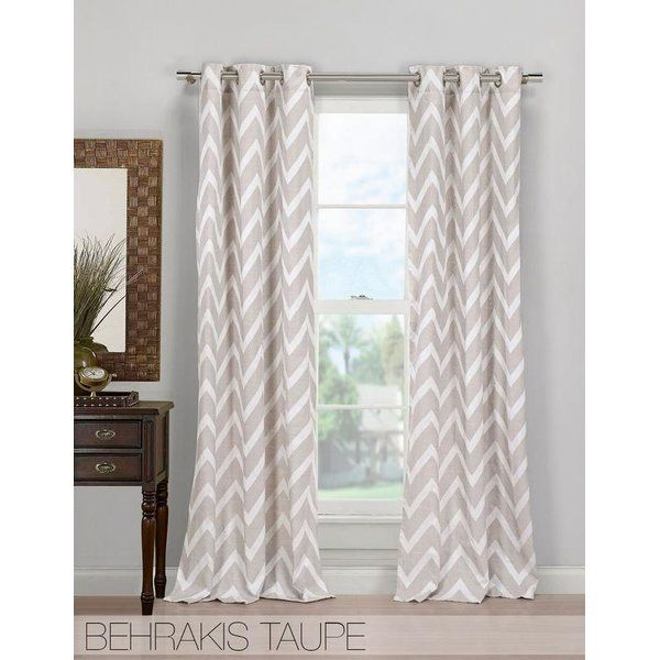 Hepburn Poly Chevron Semi Sheer Grommet Curtain Panels In 2019
