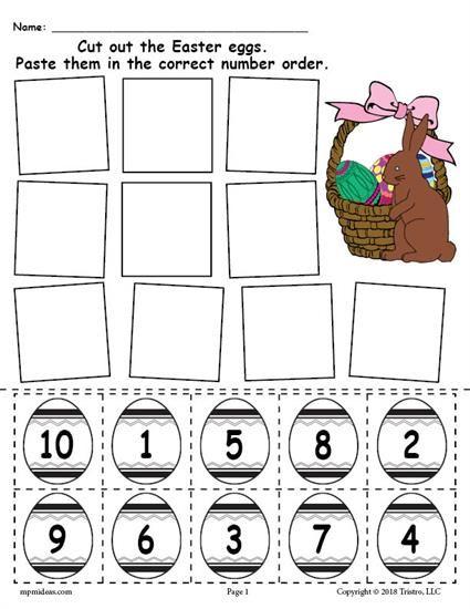 Free Printable Easter Egg Number Ordering Worksheet Numbers 1 10