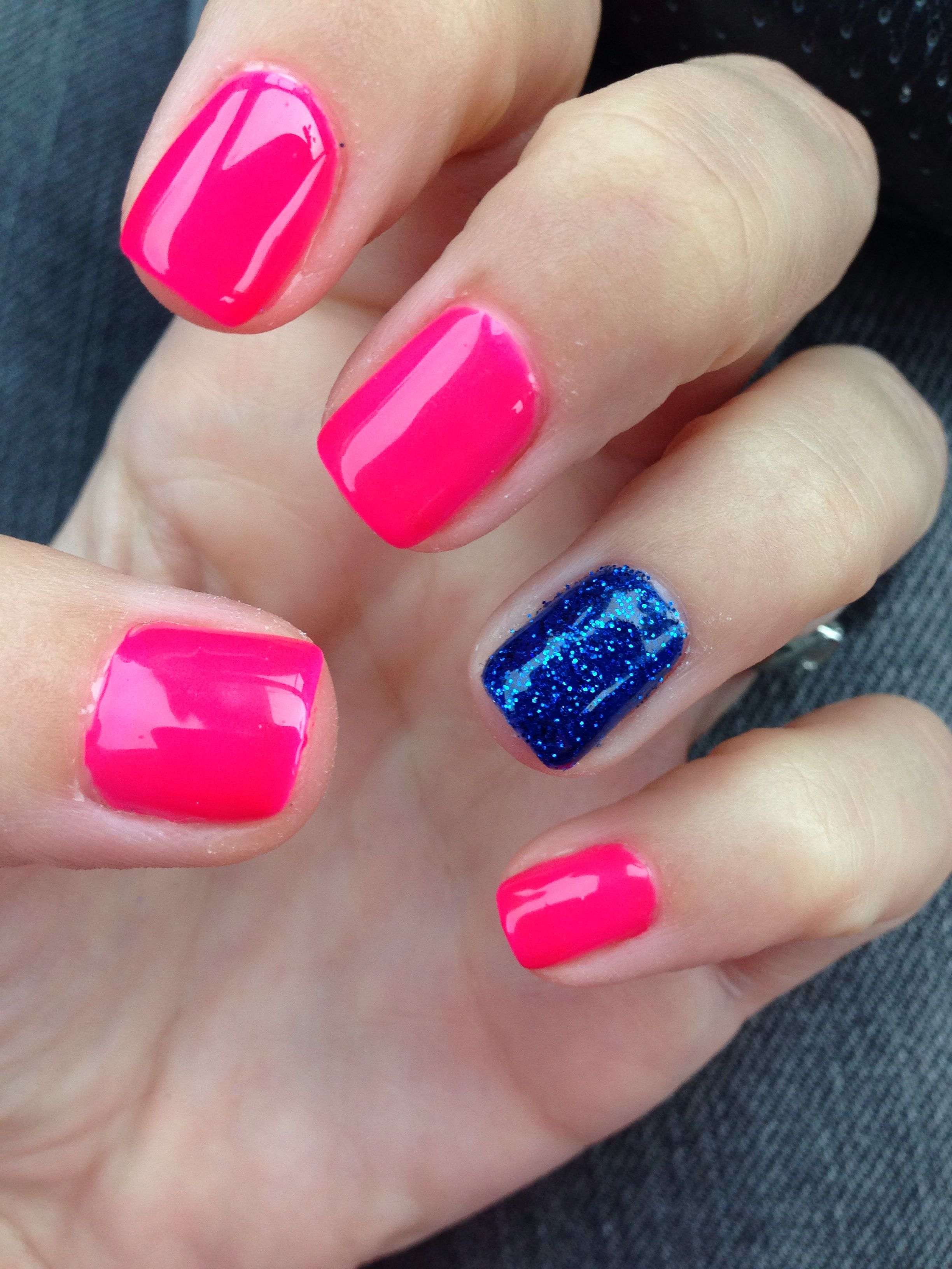 hot pink shellac and navy blue