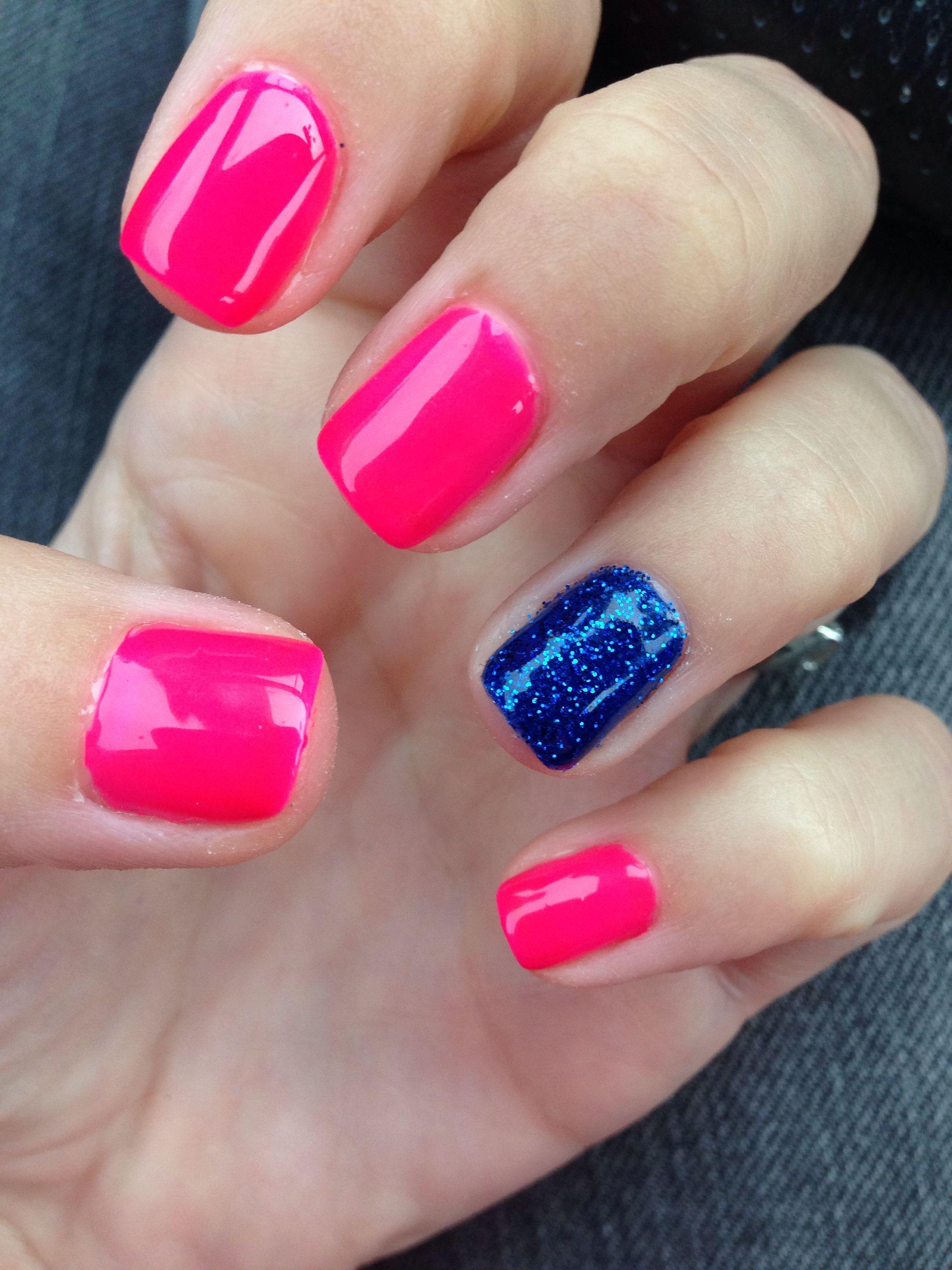 Hot Pink Shellac And Navy Blue Powder Glitter Powder Glitter