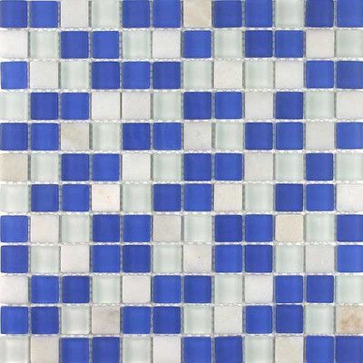 """Giorbello Glacier Mountain 0.88"""" x 0.88"""" Glass and Natural Stone Mosaic Tile in Ocean Voyage"""