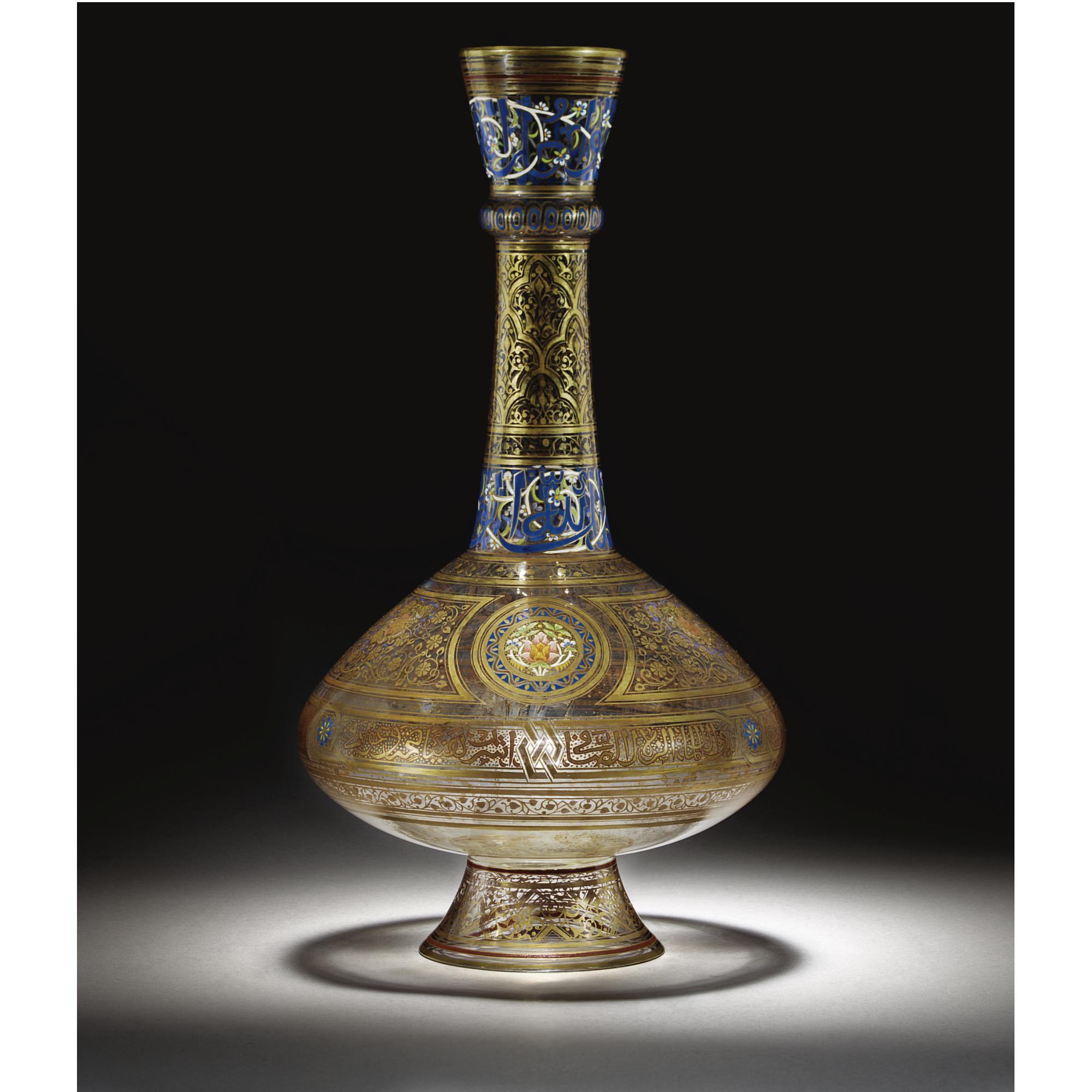 A Large J L Lobmeyr Enamelled Persian Style Glass Bottle