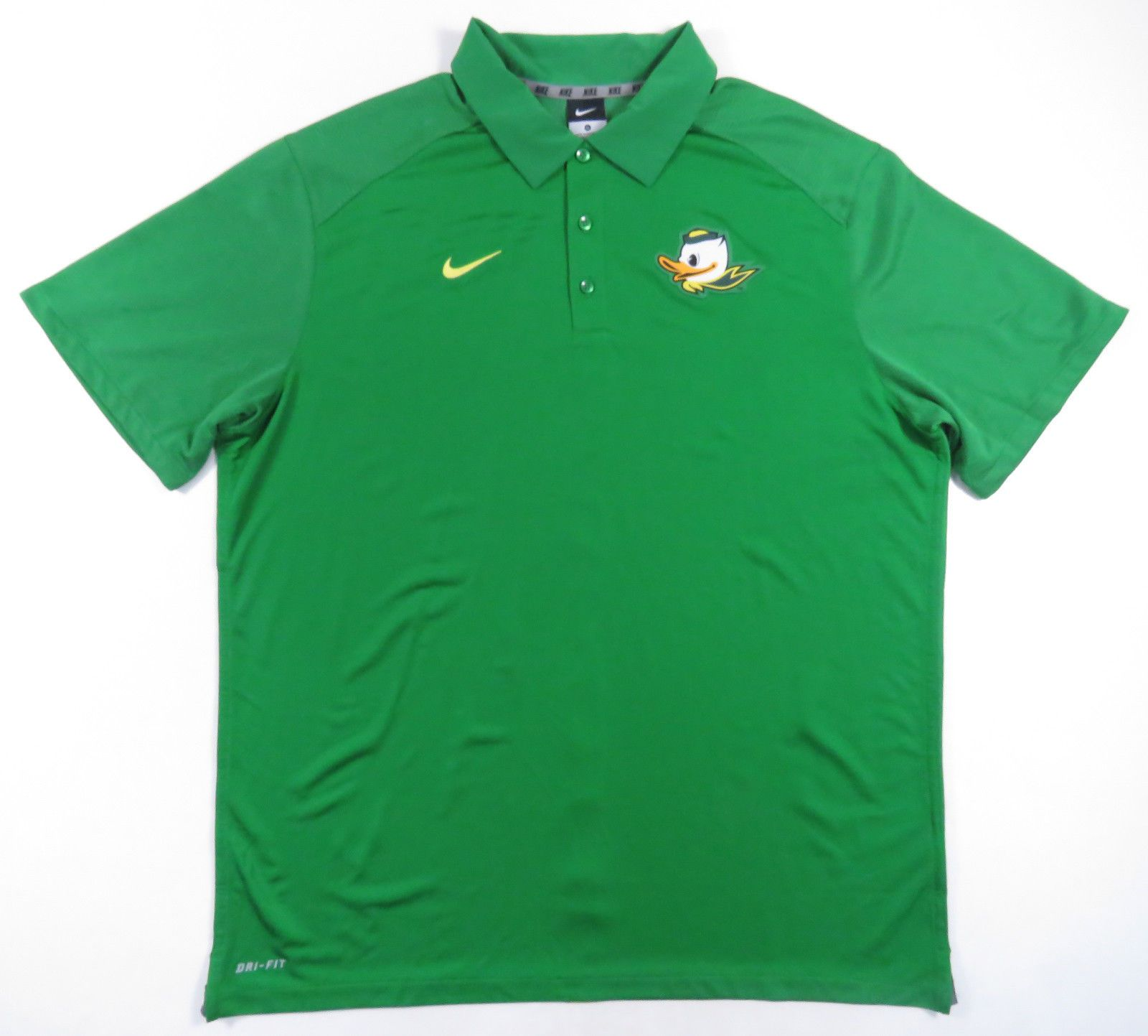 Oregon Ducks Nike Dri Fit Football Green Duck Logo Polo Shirt New