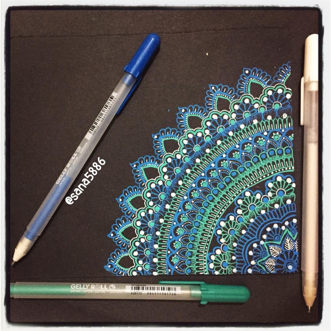 396 Likes 10 Comments Sana Arifثناءعارف Sana5886 On Instagram Corner Mandala With Gelly Rolls Pens Mandala Drawing Gel Pen Art Colorful Art