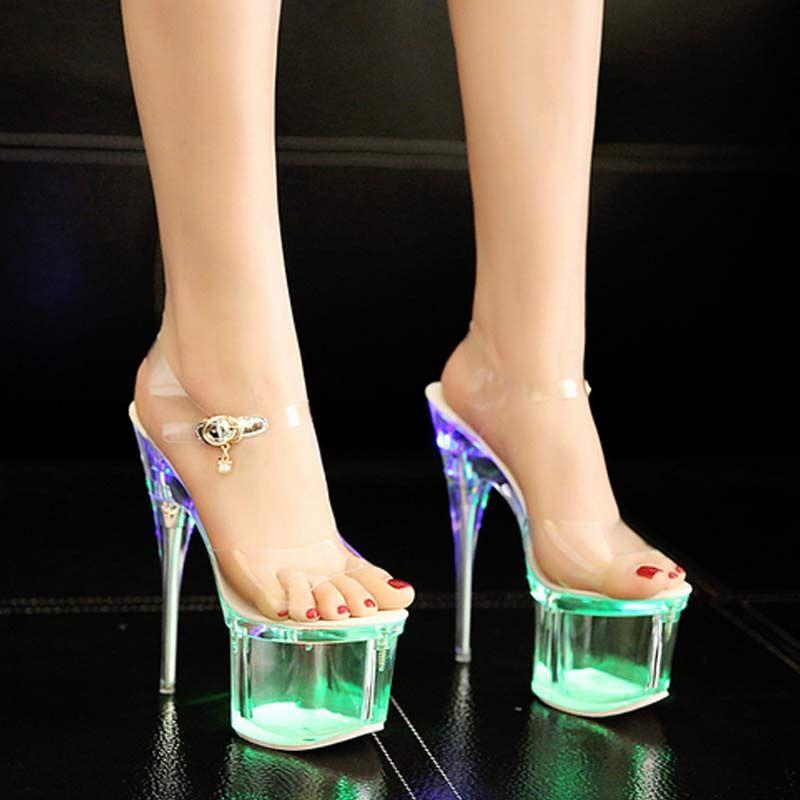 0cc34c00c46 2017Women's High Heel Sandals Sexy Crystal Clear Women's Fish High ...