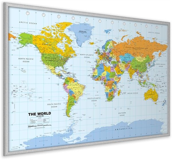 Pinboard world map silver wood framewall maps large world map pinboard world map silver wood framewall maps large world map posters gumiabroncs Choice Image