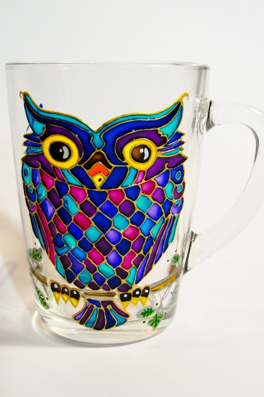 Owl Glass Mug Funny tea mug Hand painted Personalized gift ...
