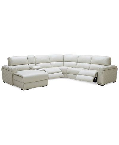 Jessi 6 Pc Leather Sectional Sofa With Chaise Center Console And 2 Recliners