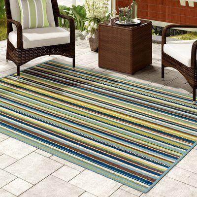 Andover Mills Brendel Striped Hooked Blue Brown Indoor Outdoor Area Rug In 2020 Green Outdoor Rug Outdoor Area Rugs Area Rugs
