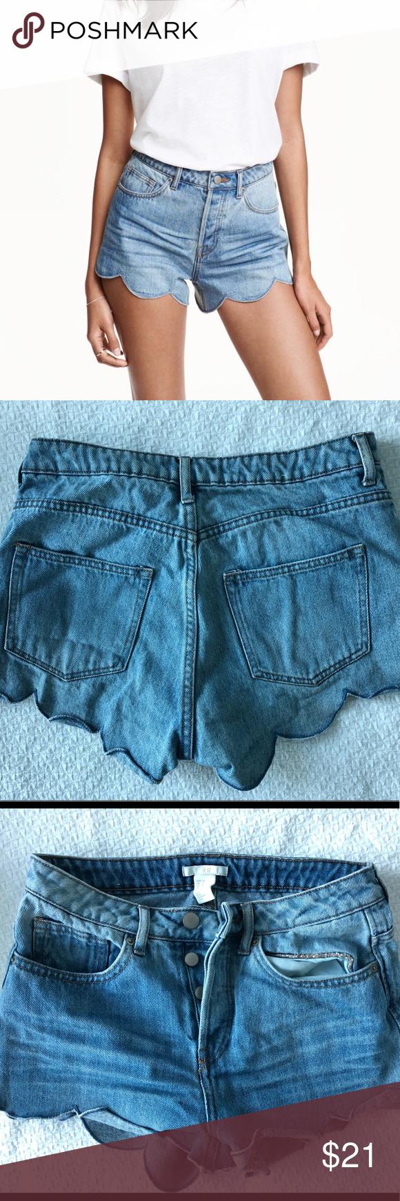 4694a8a49 H&M scalloped denim shorts! High waisted Size 4 H&M Shorts Jean Shorts