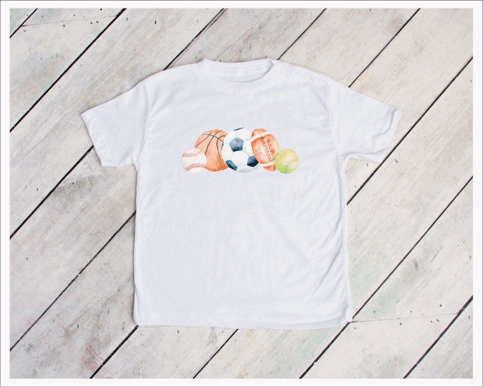Sports Ball Watercolor Tee Baseball Football Soccer Basketball