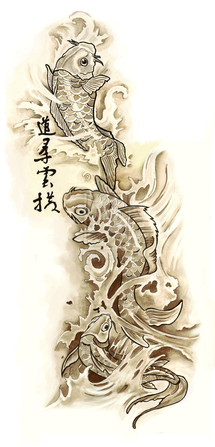 Koi tattoo google zoeken tattoos pinterest koi tattoo design koi tattoo design by mull art on deviantart this could be sooo colorful izmirmasajfo Images