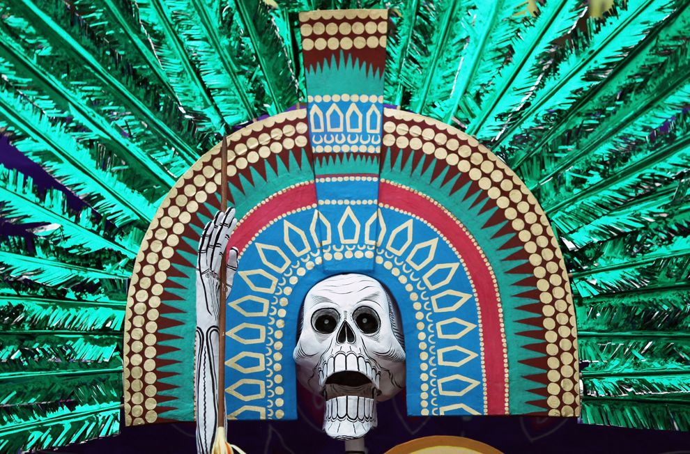 A decorated altar is unveiled for the British Museum's Day of the Dead celebration on October 29, 2009 in London, England. The altar was created by Mexican artist Adriana Amaya. (Dan Kitwood/Getty Images)