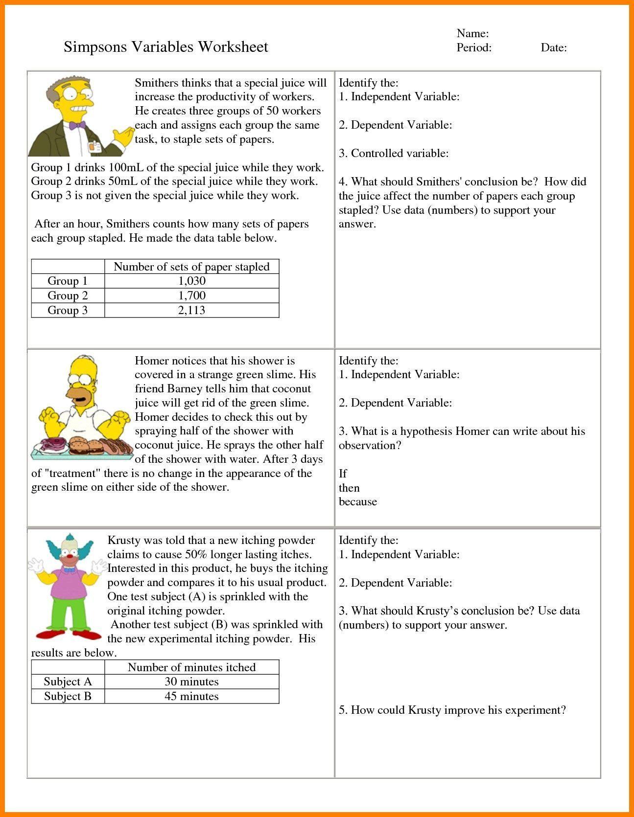 Dependent And Independent Variables Worksheet 6th Grade Hypothesis Worksheet Refrence 7 I In 2020 Scientific Method Worksheet Probability Worksheets Science Worksheets