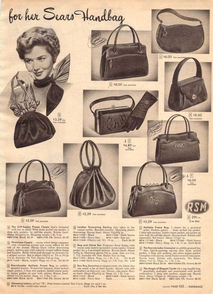 Vintage Women s Handbags from a 1952 Sears catalog  8b6b64ecc7b11