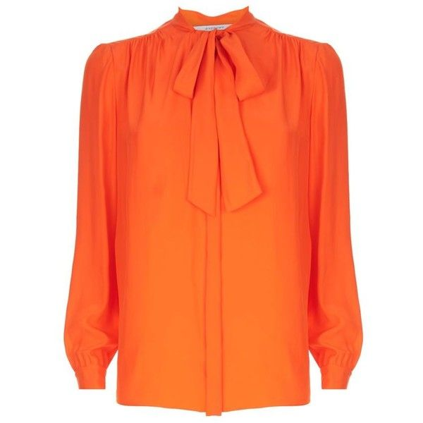 d4c32ea9401c Givenchy Silk Pussybow Blouse featuring polyvore, women's fashion,  clothing, tops, blouses, 80s tops, orange silk top, bow neck blouse,  givenchy and orange ...