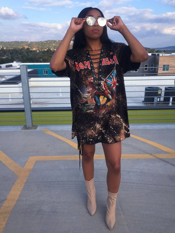 21aeb5a90086 Iron Maiden Graphic Lace-Up Distressed T-shirt Dress 2X by TeesbyT ...