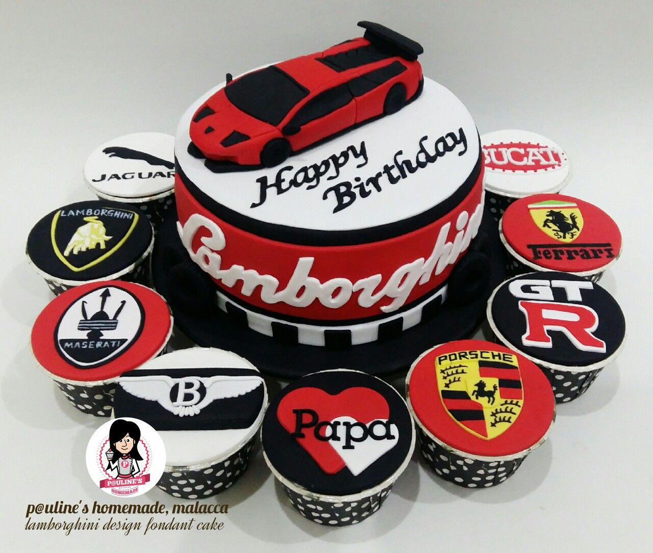 Lamborghini car sport car logo design fondant cake cupcakes lamborghini car sport car logo design fondant cake cupcakes set paulineshomemademalacca baditri Gallery