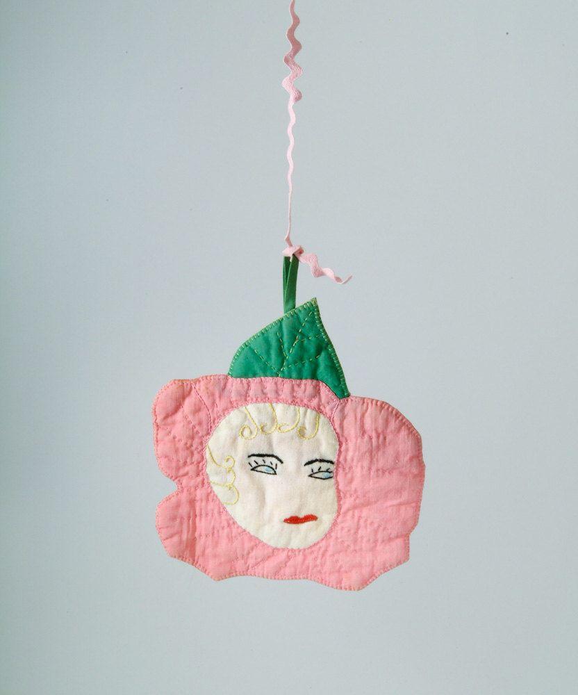 1930's Rose Face Potholder - Handmade Folk Art Rose Quilted Flapper Girl