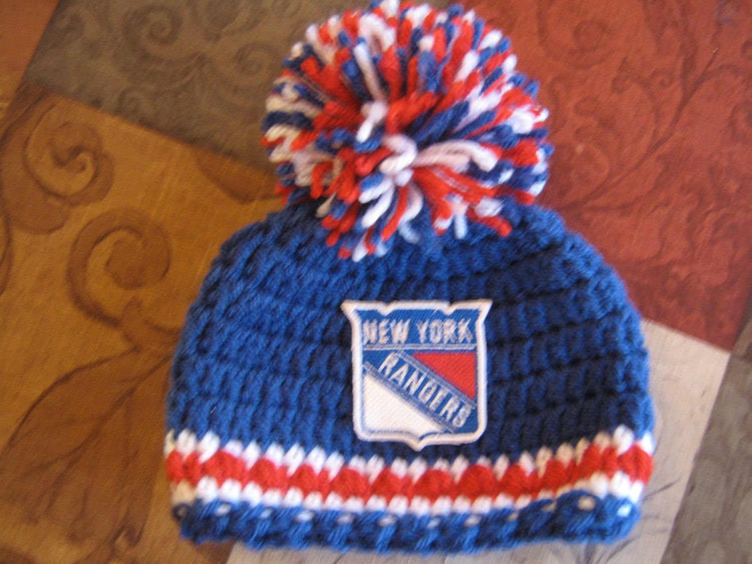 bbf5853f3 Crochet Beanie Baby Hat (New York Rangers) Embroidered Logo - Blue ...