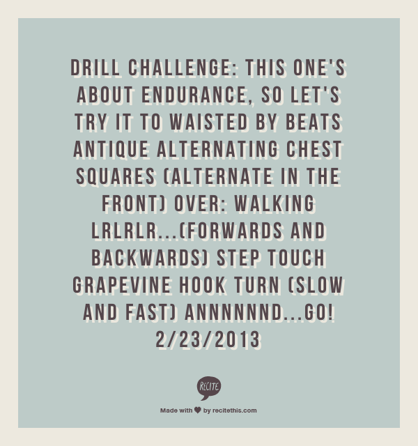 Drill CHallenge: this ones about endurance, so lets try it