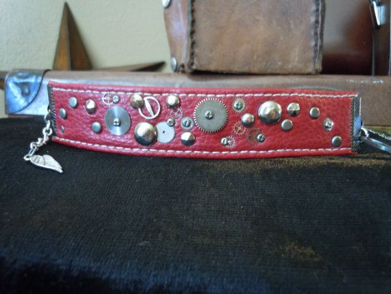 Red Recycled Leather Watch Shrapnel Steampunk Cuff by TimeFound, $14.00