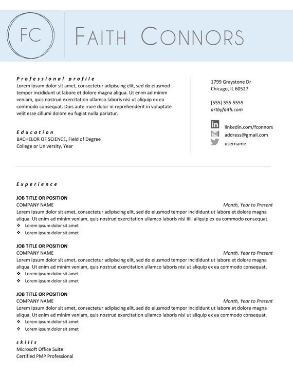 The Faith Creative Resume Template and Cover Letter - Professional