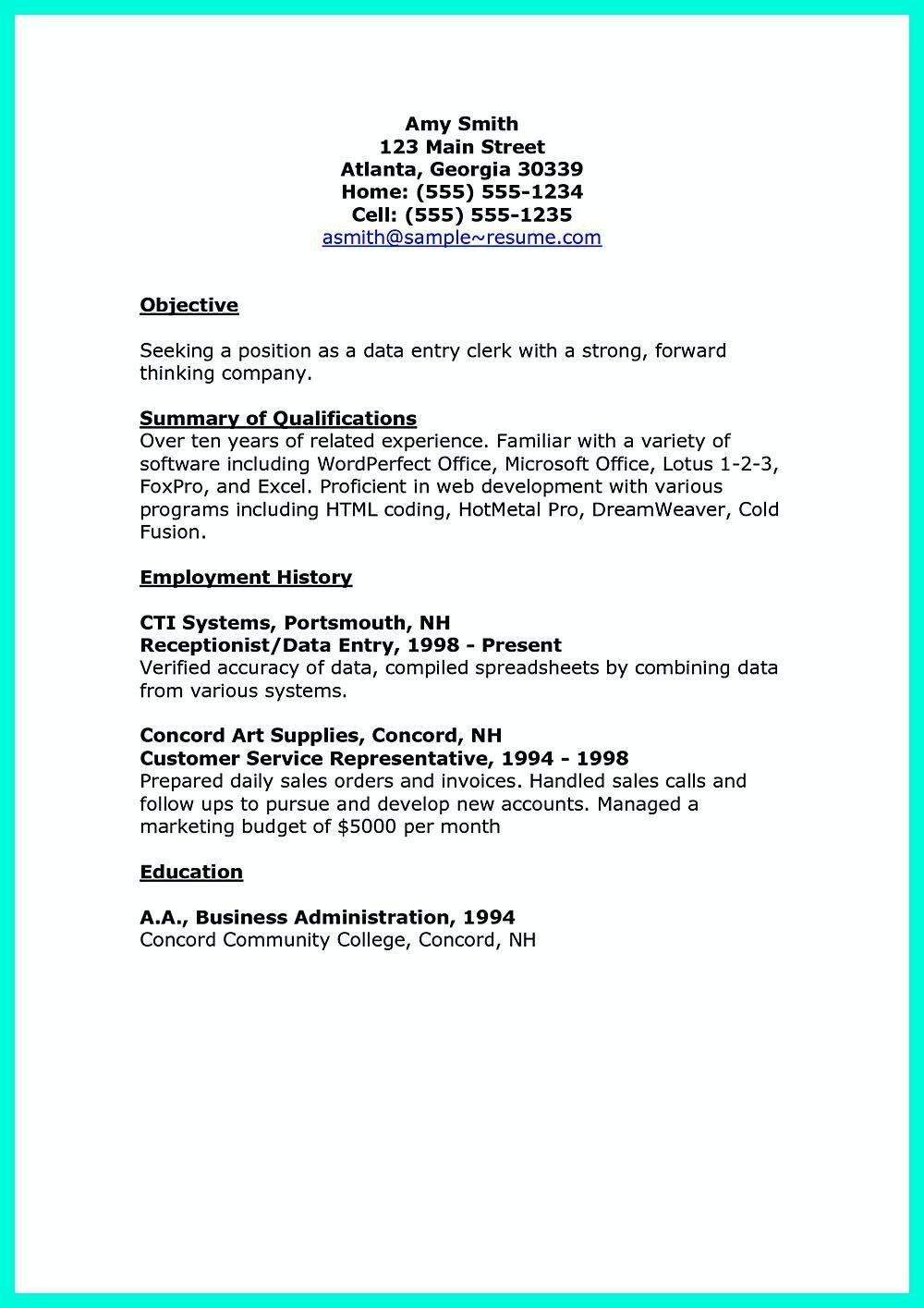 Data Entry Clerk Resume Pin On Resume Sample Template and