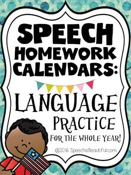 Speech Homework Calendars - Language Practice FOR THE YEAR!