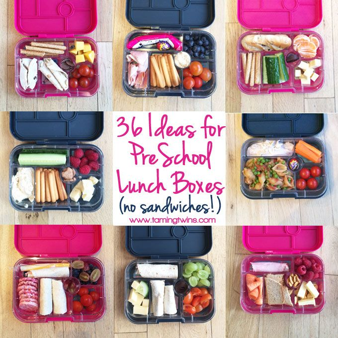 Lunchbox Ideas for PreSchoolers - with no boring sandwiches! Inspiration for more interesting pack ups for kids | http://www.tamingtwins.stfi.re