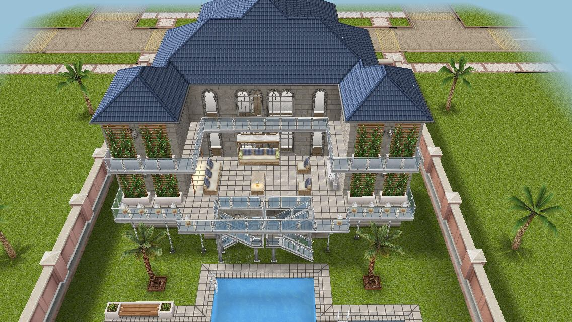 Beach Side Mansion #sims #freeplay House Design   Outside View