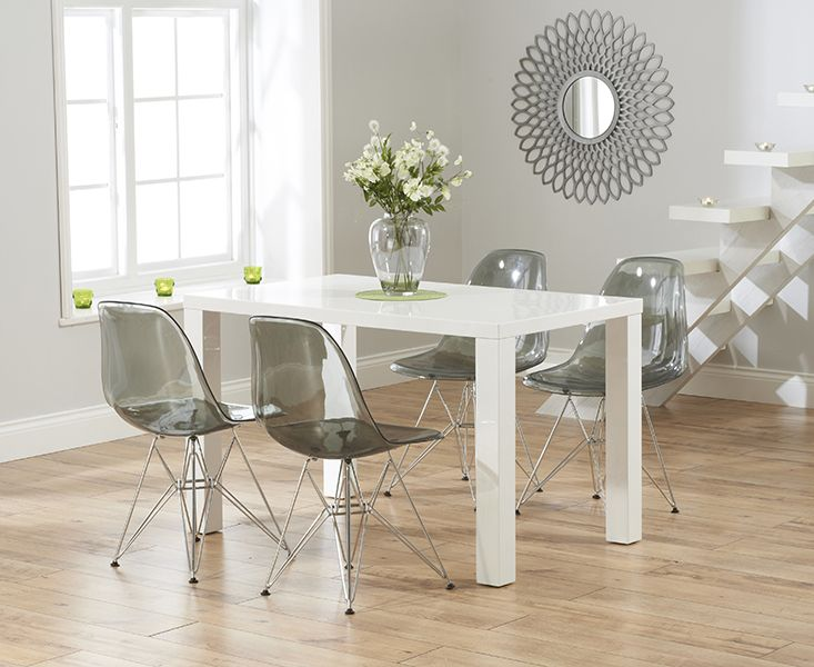 Buy The Atlanta White High Gloss Dining Table With Charles Eames Style DSR Eiffel Transparent Chairs At Oak Furniture Superstore
