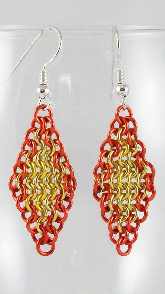 Chainmaille Earrings Medium Diamonds  by TheAlaskanMailleMan